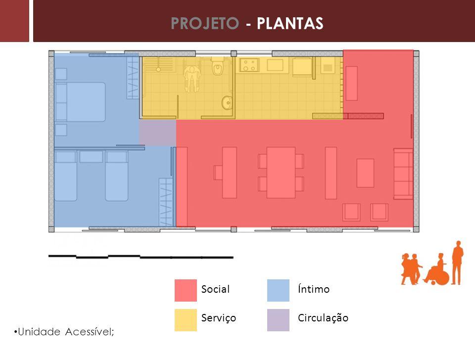 PROJETO - PLANTAS Social Serviço Íntimo Circulação Unidade Acessível;