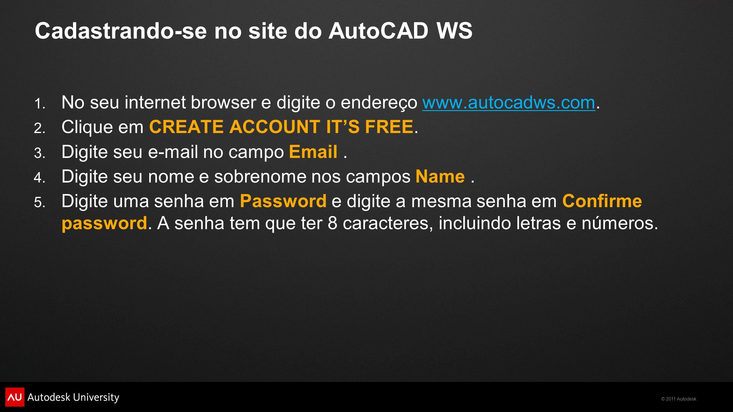 Cadastrando-se no site do AutoCAD WS