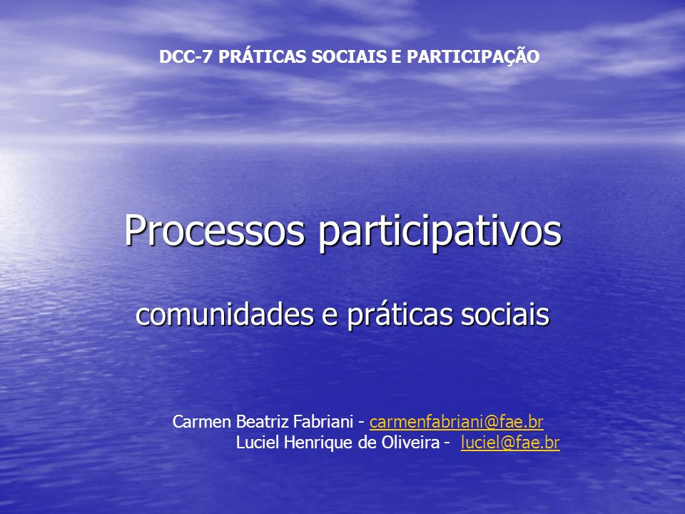 Processos participativos