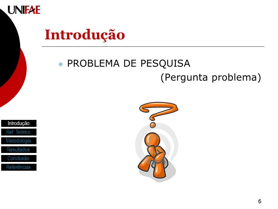 Introdução PROBLEMA DE PESQUISA (Pergunta problema) Introdução