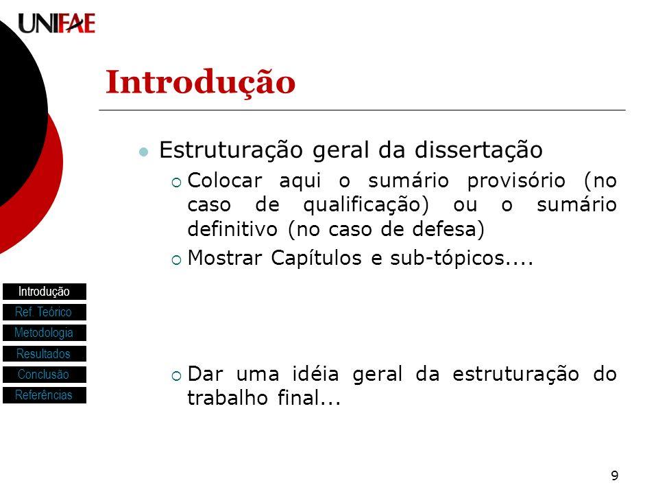 Introdução Estruturação geral da dissertação