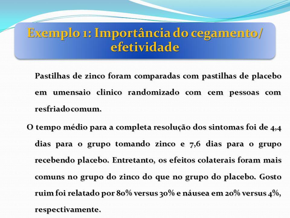 Exemplo 1: Importância do cegamento/ efetividade