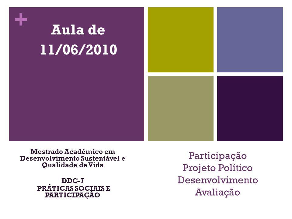 Participação Projeto Político Desenvolvimento Avaliação