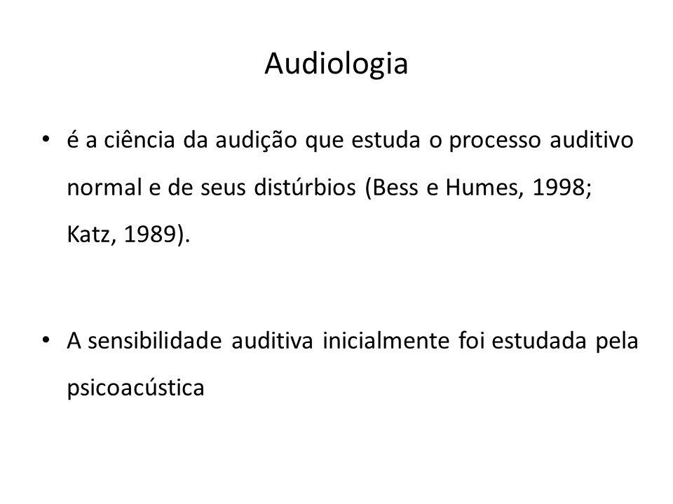 Audiologia é a ciência da audição que estuda o processo auditivo normal e de seus distúrbios (Bess e Humes, 1998; Katz, 1989).