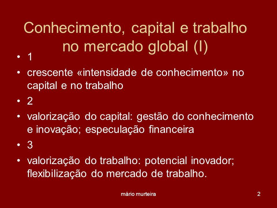 Conhecimento, capital e trabalho no mercado global (I)