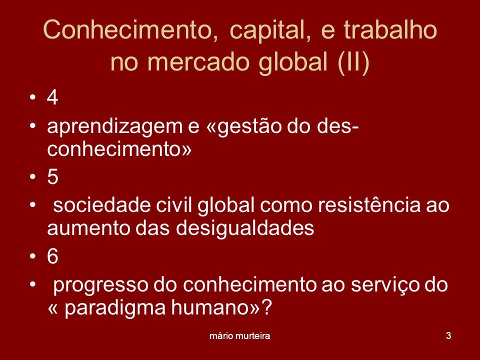 Conhecimento, capital, e trabalho no mercado global (II)