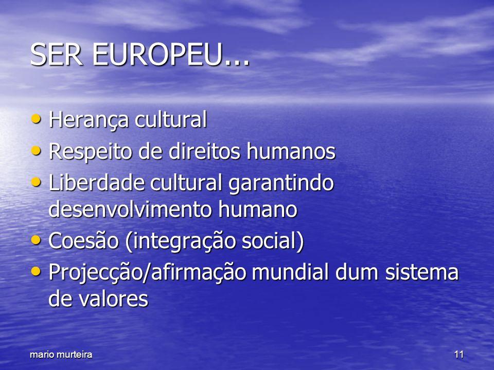 SER EUROPEU... Herança cultural Respeito de direitos humanos