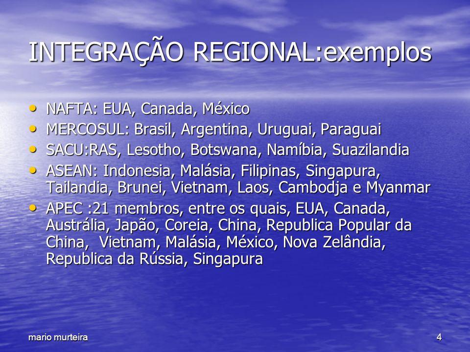 INTEGRAÇÃO REGIONAL:exemplos
