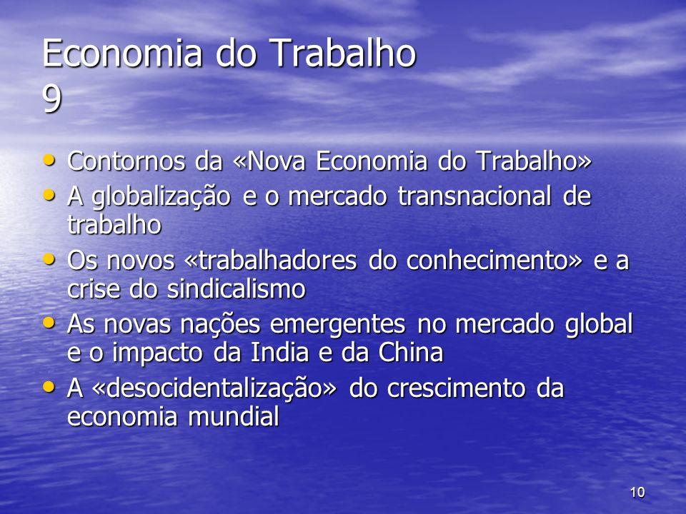 Economia do Trabalho 9 Contornos da «Nova Economia do Trabalho»