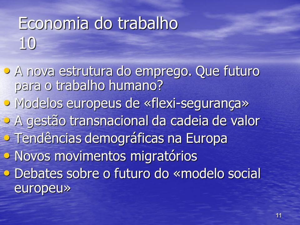 Economia do trabalho 10 A nova estrutura do emprego. Que futuro para o trabalho humano Modelos europeus de «flexi-segurança»