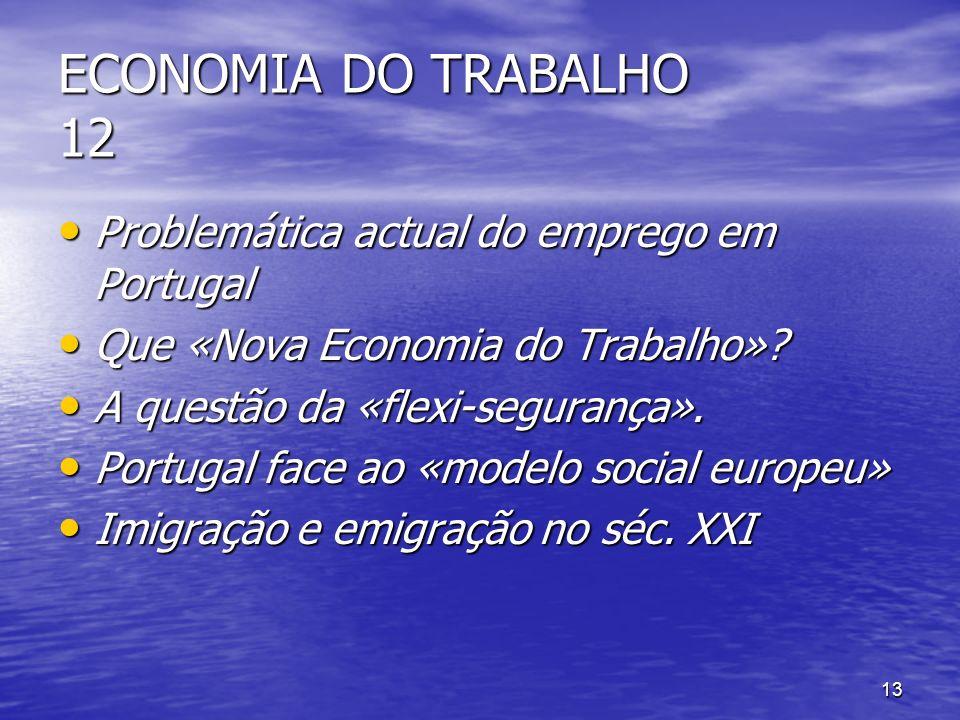 ECONOMIA DO TRABALHO 12 Problemática actual do emprego em Portugal