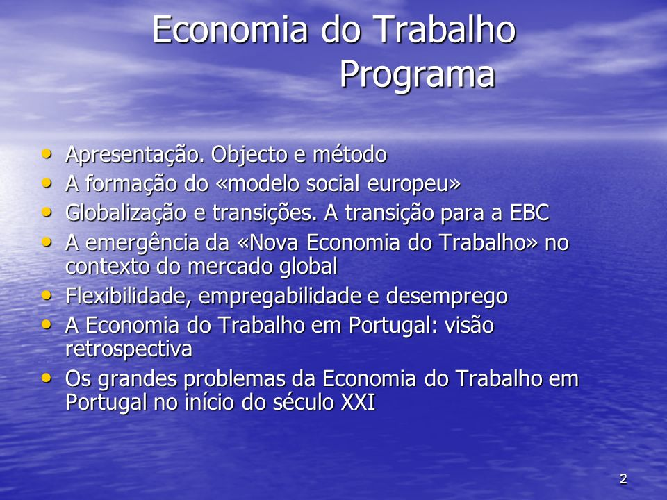 Economia do Trabalho Programa