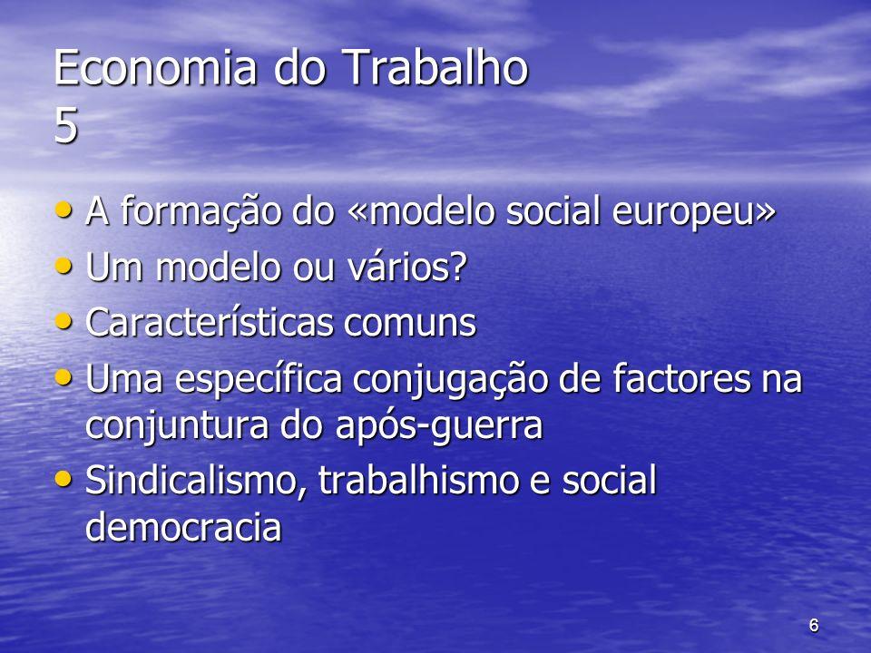 Economia do Trabalho 5 A formação do «modelo social europeu»