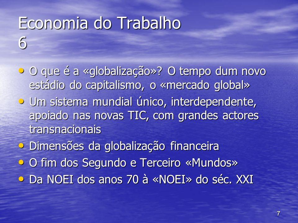 Economia do Trabalho 6 O que é a «globalização» O tempo dum novo estádio do capitalismo, o «mercado global»