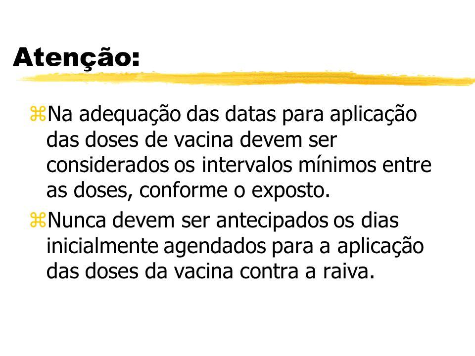 Atenção:Na adequação das datas para aplicação das doses de vacina devem ser considerados os intervalos mínimos entre as doses, conforme o exposto.