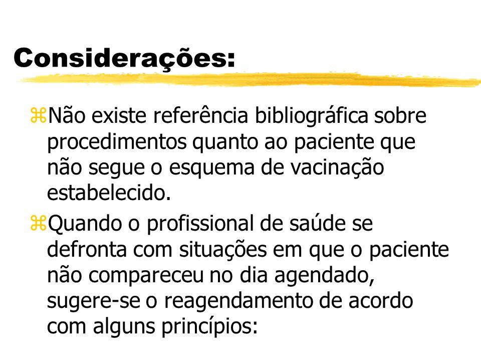 Considerações:Não existe referência bibliográfica sobre procedimentos quanto ao paciente que não segue o esquema de vacinação estabelecido.