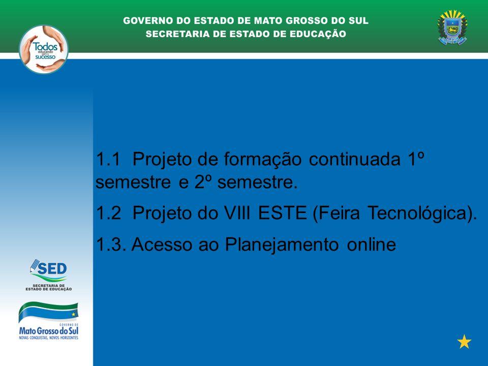 1.1 Projeto de formação continuada 1º semestre e 2º semestre.