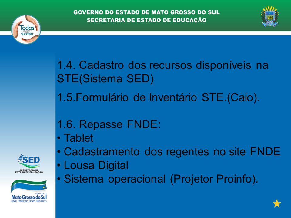 1.4. Cadastro dos recursos disponíveis na STE(Sistema SED)