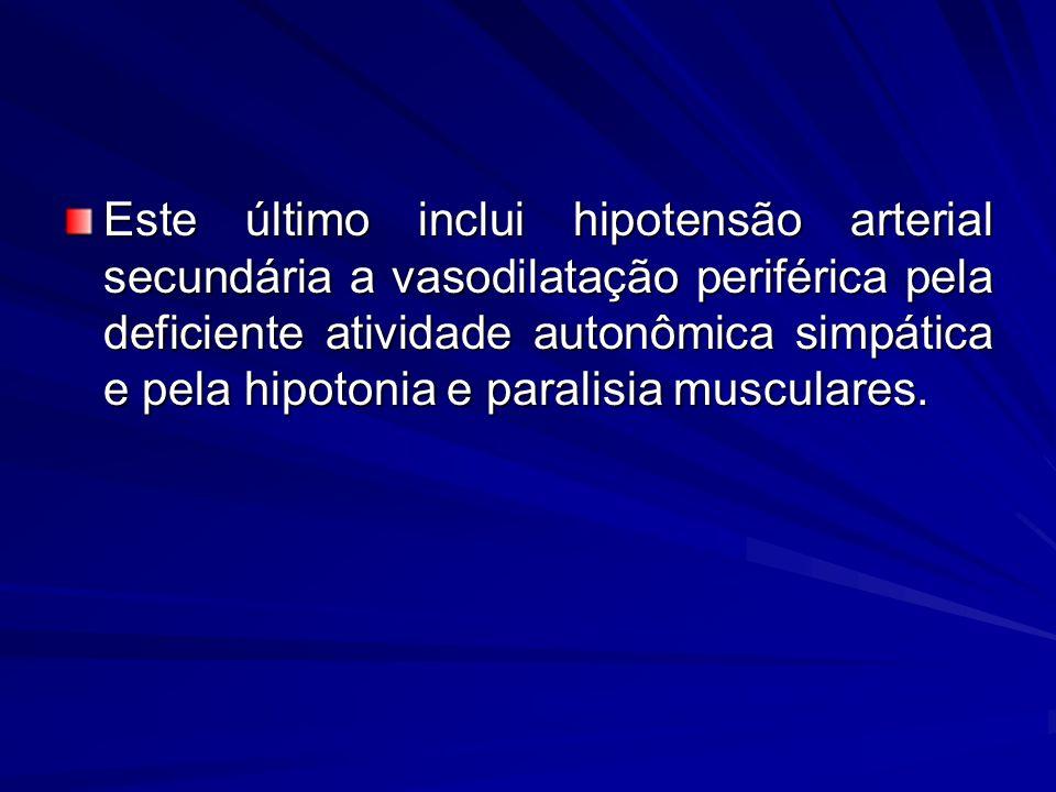 Este último inclui hipotensão arterial secundária a vasodilatação periférica pela deficiente atividade autonômica simpática e pela hipotonia e paralisia musculares.