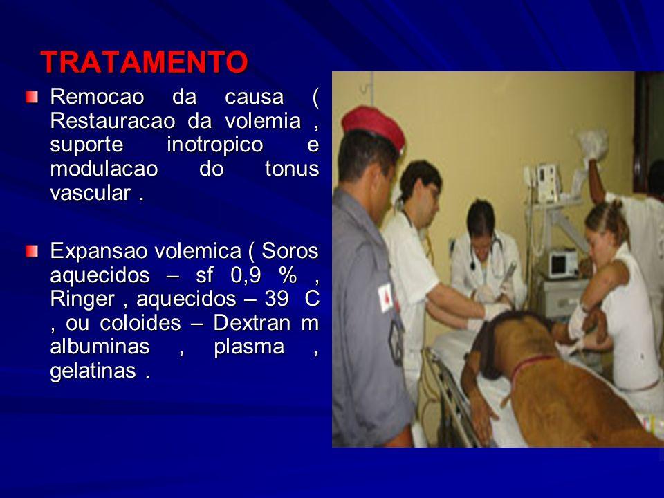 TRATAMENTORemocao da causa ( Restauracao da volemia , suporte inotropico e modulacao do tonus vascular .