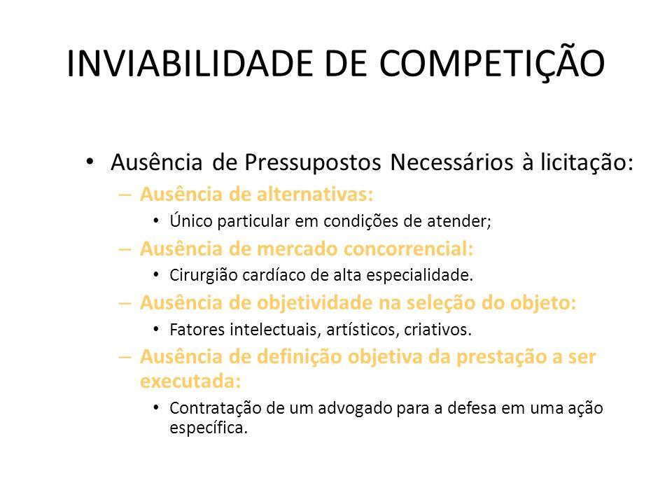 INVIABILIDADE DE COMPETIÇÃO
