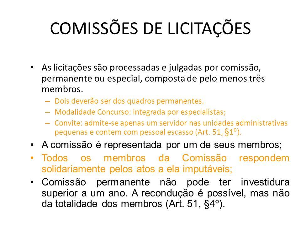 COMISSÕES DE LICITAÇÕES