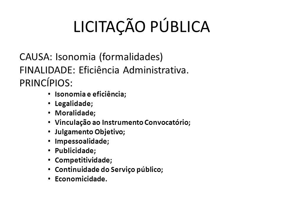 LICITAÇÃO PÚBLICA CAUSA: Isonomia (formalidades)
