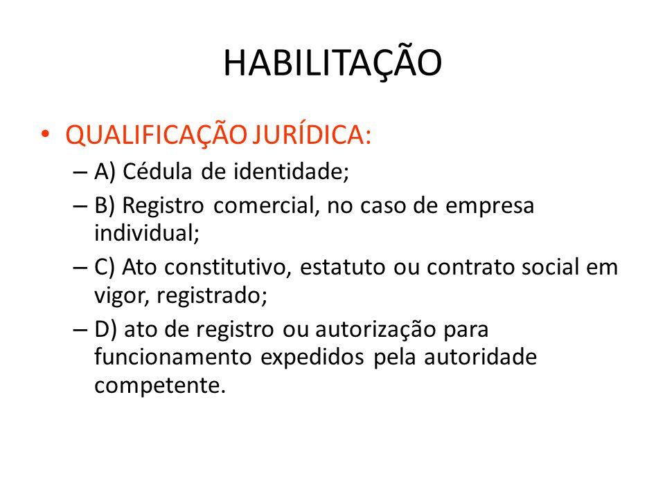 HABILITAÇÃO QUALIFICAÇÃO JURÍDICA: A) Cédula de identidade;
