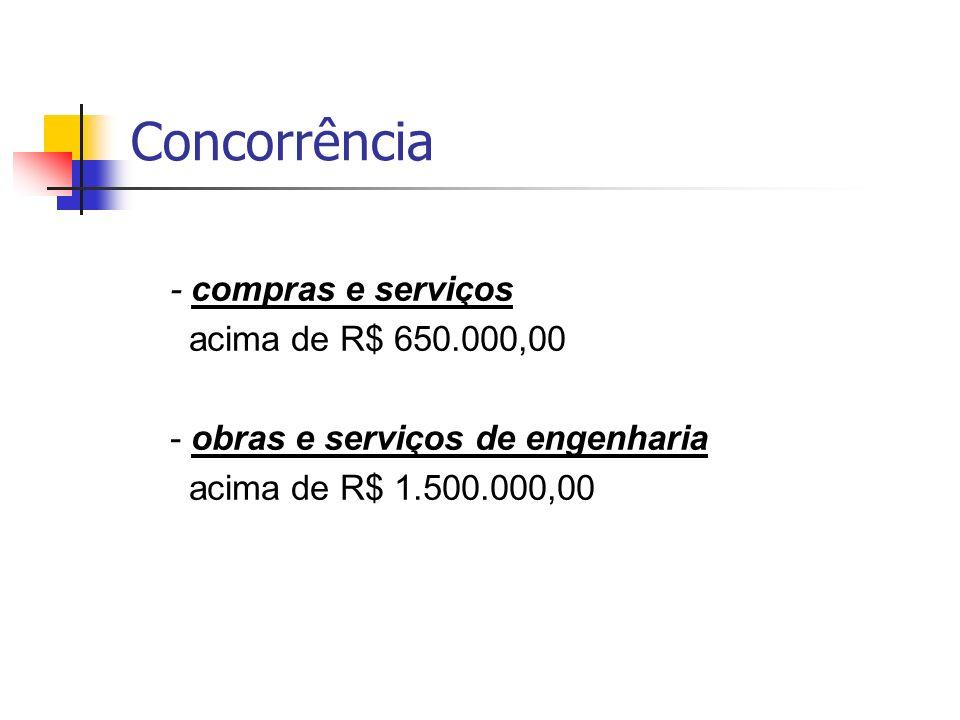 Concorrência - compras e serviços acima de R$ 650.000,00