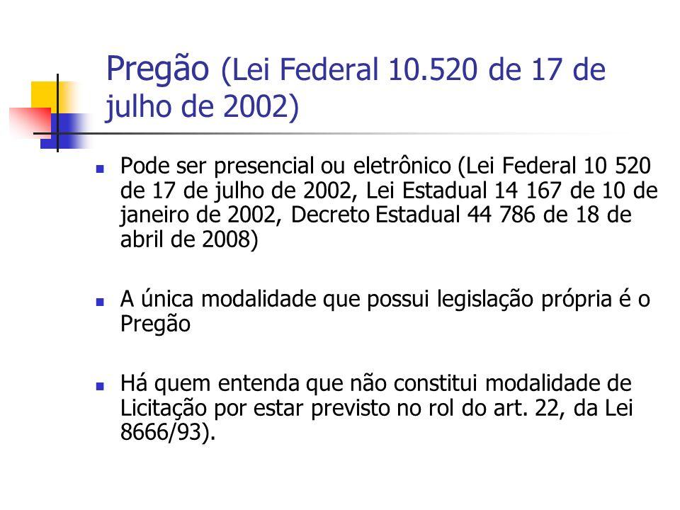 Pregão (Lei Federal 10.520 de 17 de julho de 2002)