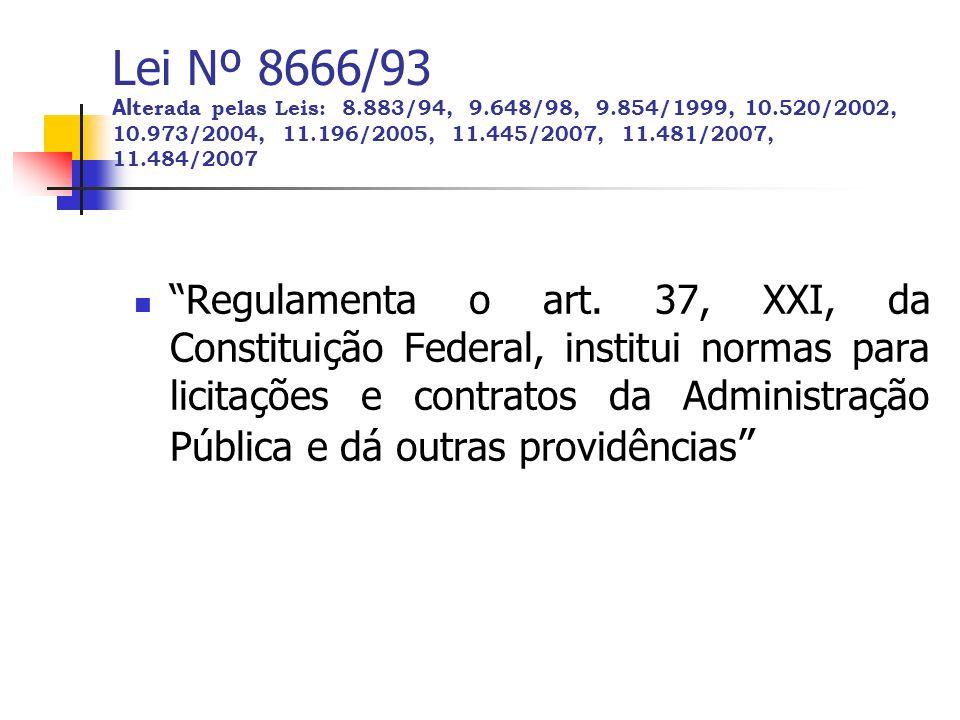 Lei Nº 8666/93 Alterada pelas Leis: 8. 883/94, 9. 648/98, 9