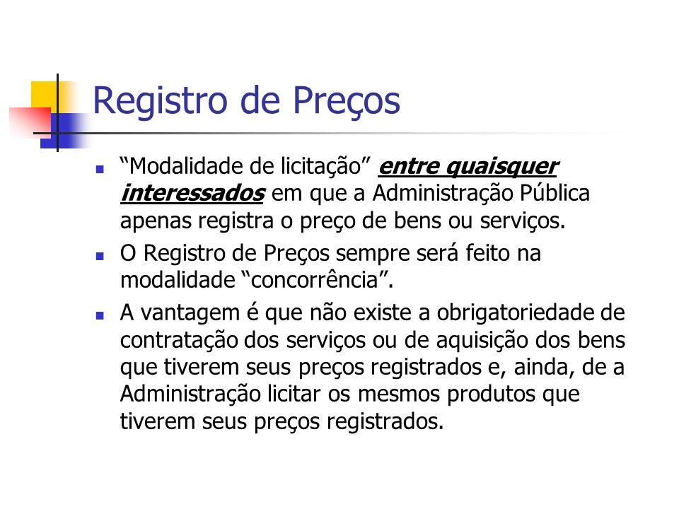 Registro de Preços Modalidade de licitação entre quaisquer interessados em que a Administração Pública apenas registra o preço de bens ou serviços.