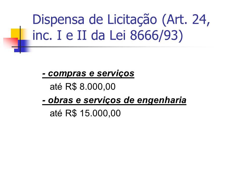 Dispensa de Licitação (Art. 24, inc. I e II da Lei 8666/93)