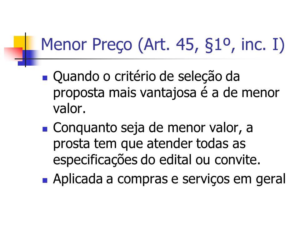 Menor Preço (Art. 45, §1º, inc. I)