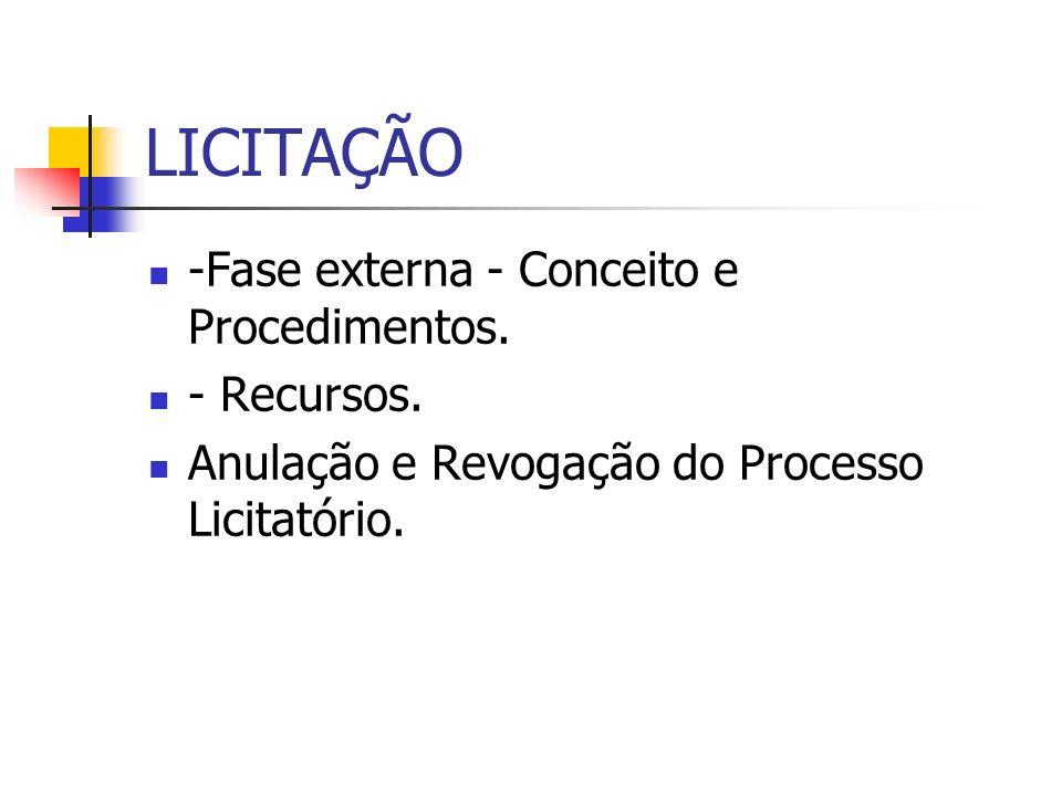 LICITAÇÃO -Fase externa - Conceito e Procedimentos. - Recursos.