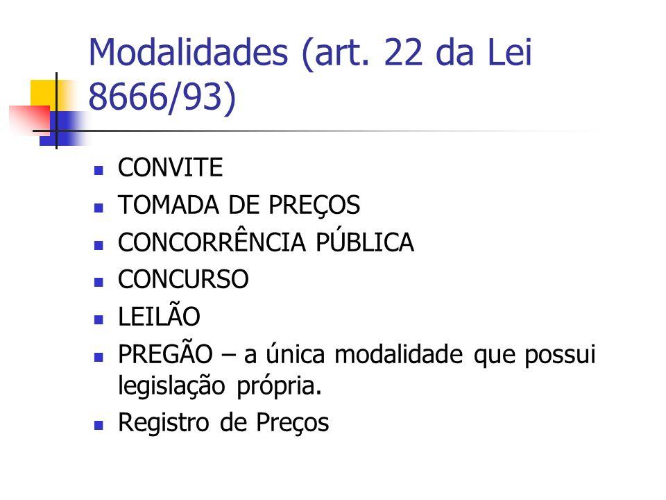 Modalidades (art. 22 da Lei 8666/93)
