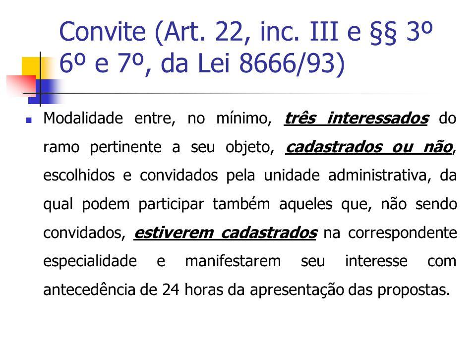 Convite (Art. 22, inc. III e §§ 3º 6º e 7º, da Lei 8666/93)