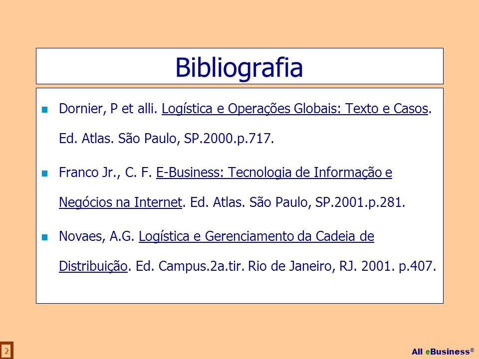 Bibliografia Dornier, P et alli. Logística e Operações Globais: Texto e Casos. Ed. Atlas. São Paulo, SP.2000.p.717.