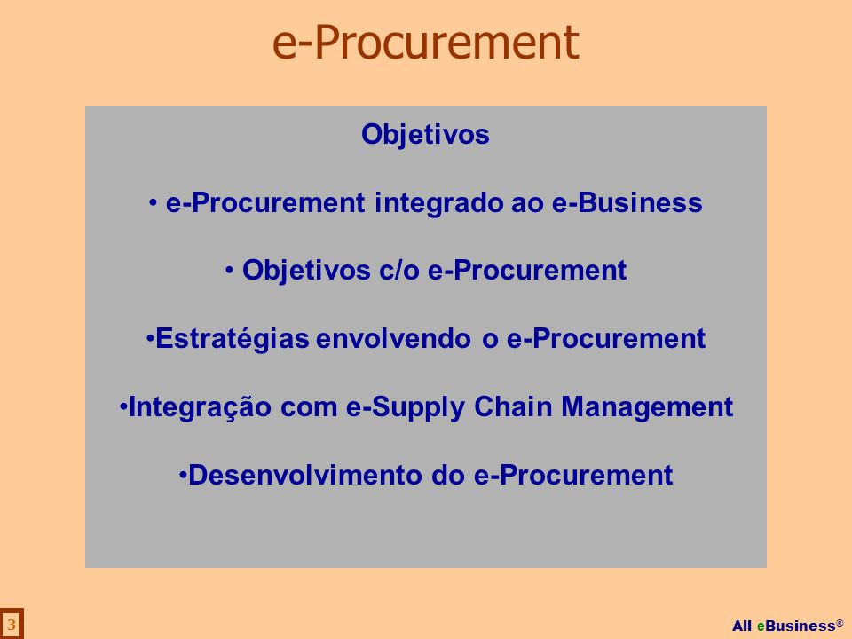 e-Procurement Objetivos e-Procurement integrado ao e-Business