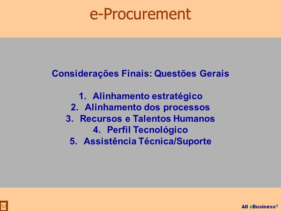 e-Procurement Considerações Finais: Questões Gerais