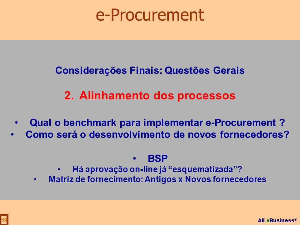 e-Procurement Alinhamento dos processos