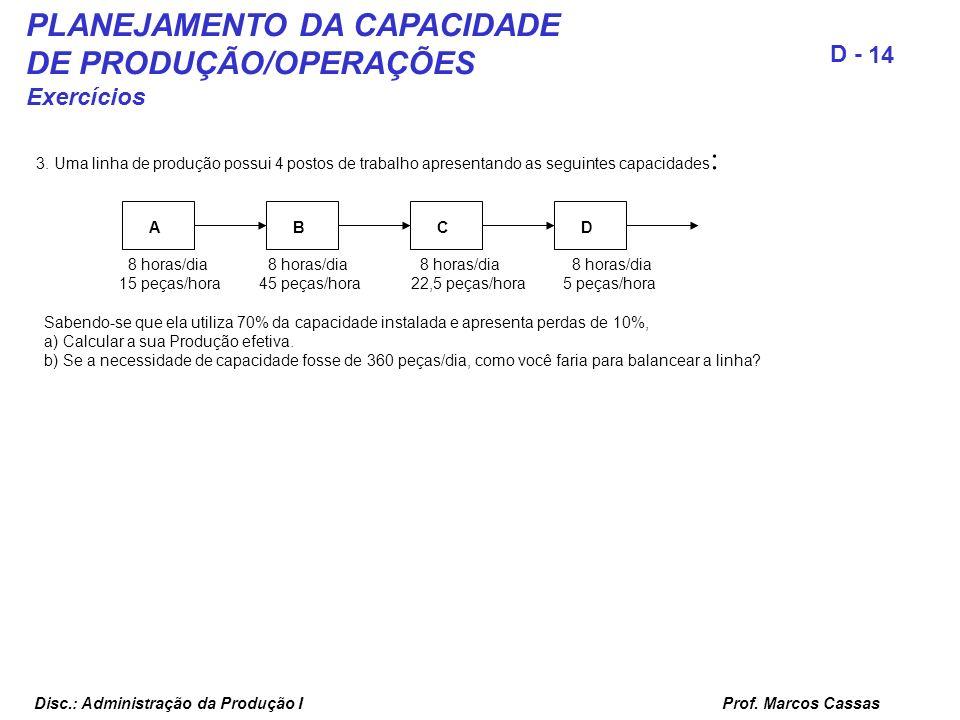 PLANEJAMENTO DA CAPACIDADE DE PRODUÇÃO/OPERAÇÕES