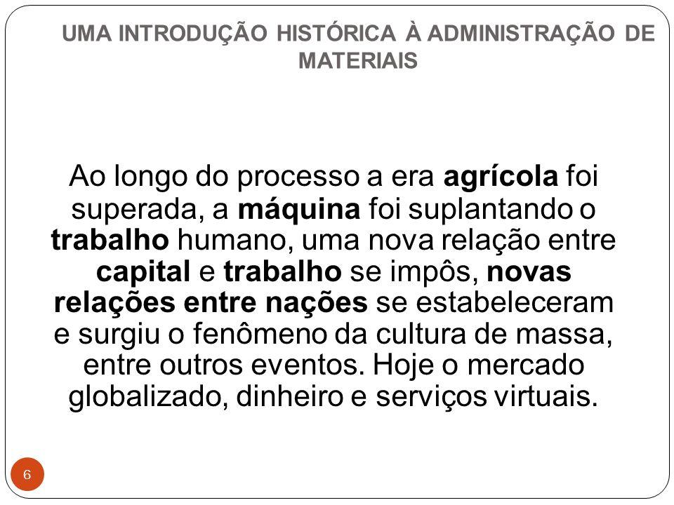 UMA INTRODUÇÃO HISTÓRICA À ADMINISTRAÇÃO DE MATERIAIS