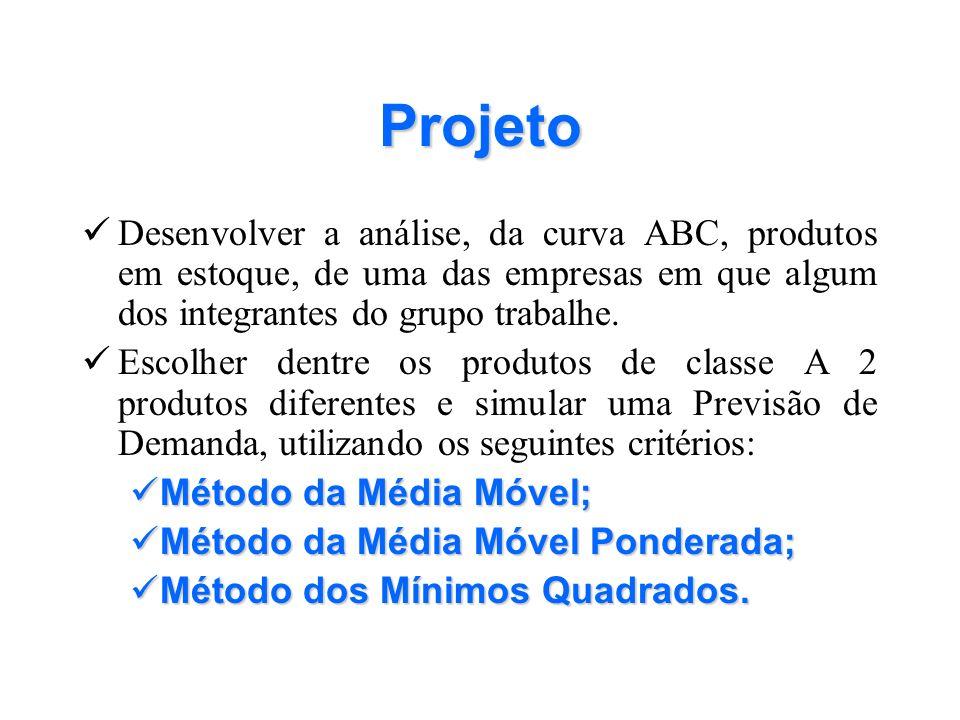 Projeto Desenvolver a análise, da curva ABC, produtos em estoque, de uma das empresas em que algum dos integrantes do grupo trabalhe.