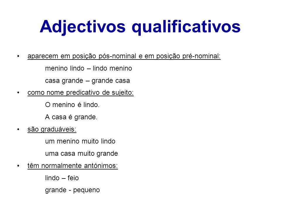 Adjectivos qualificativos