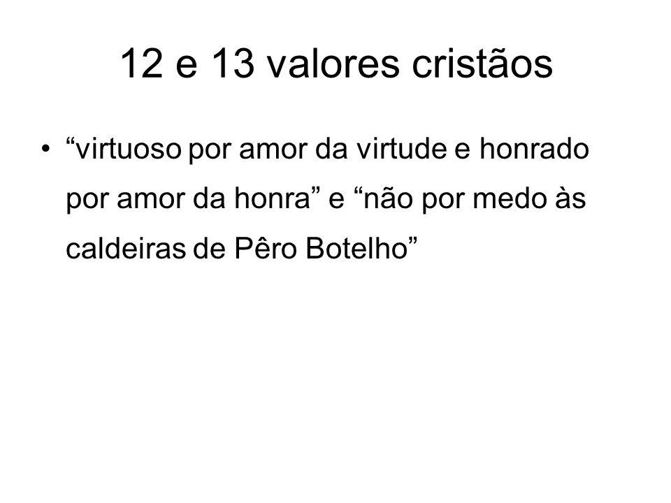 12 e 13 valores cristãos virtuoso por amor da virtude e honrado por amor da honra e não por medo às caldeiras de Pêro Botelho