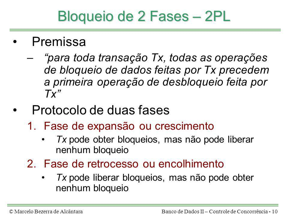 Bloqueio de 2 Fases – 2PL Premissa Protocolo de duas fases
