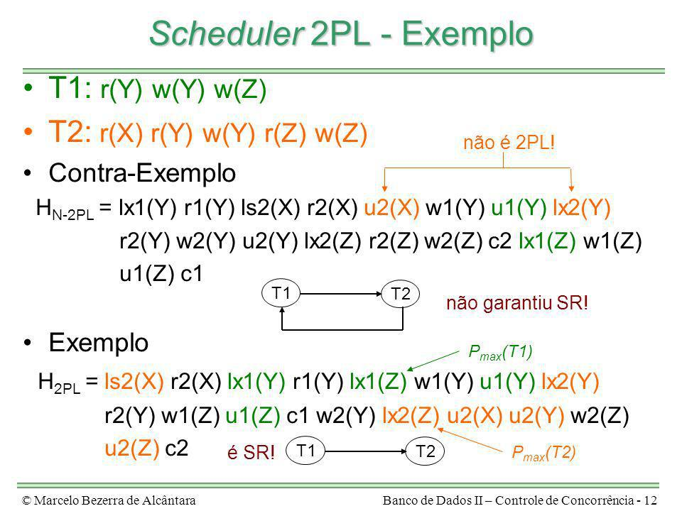 Scheduler 2PL - Exemplo T1: r(Y) w(Y) w(Z)