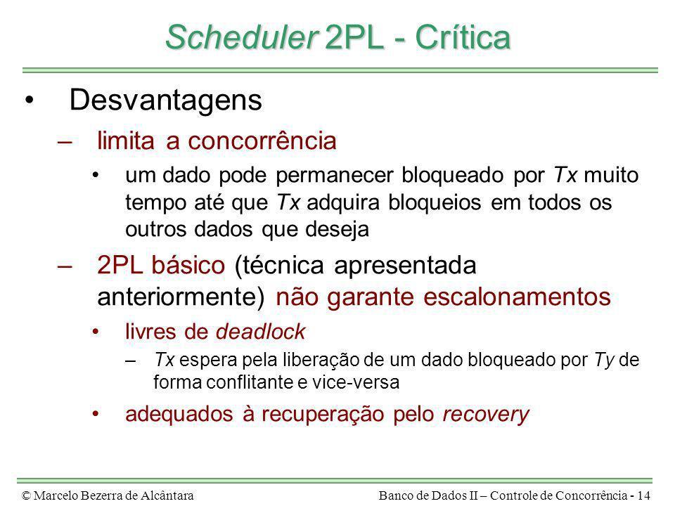 Scheduler 2PL - Crítica Desvantagens limita a concorrência