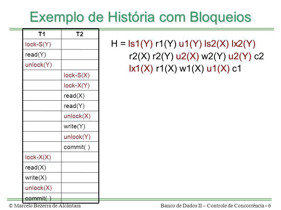 Exemplo de História com Bloqueios